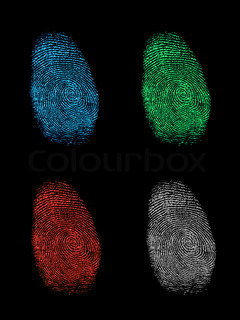 Finger prints isolated on a black background
