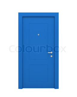 The closed blue door with the handle, the lock isolated on a white background