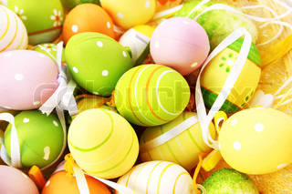 Easter setting with colorful eggs