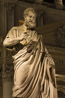st. Petrs statue in Vatican - for the Cathedral - night