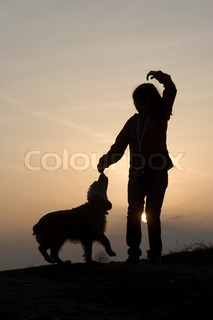 child and dog in sunset - silhouette