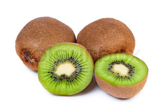 Sliced ​​kiwi fruit core is seen on a white background