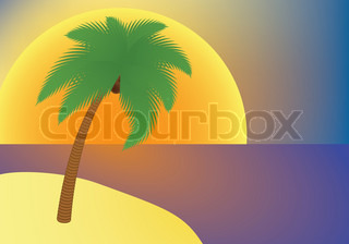 vacation: palm tree on an island at sunset vector illustration