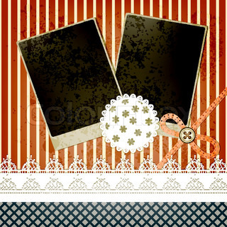 vector scrapbook template design with two frames, bow, button and laces, elementscan be used separately