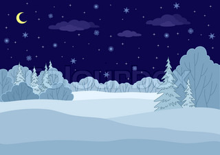Landscape: winter forest night, coniferous and deciduous trees under stars
