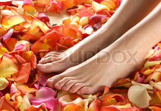 Spa composition of legs and petals