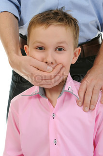 man closes a mouth a hand to the boy Isolated on white background