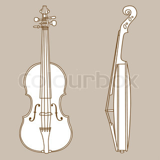 violin silhouette on brown background, vector illustration