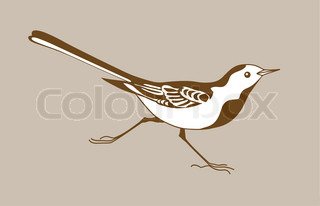 wagtail silhouette on brownbackground, vector illustration