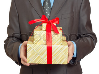 Businessman present gift box with redribbon bow, front view, isolated over white background