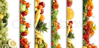 5 Ernährung Texturen Obst und Gemüse isoliert auf weiß
