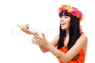 Beauty shoot of a girl with a bird in her hands wear wreath of flowers