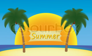summer banner hanging on palm trees over sun vector illustration