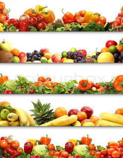 5 nutrition textures fruits and vegetables isolated on white