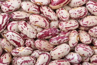 Abstract background of Spotty white-red haricot beans macro