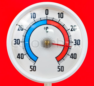 Outdoor thermometer Photos on a red background