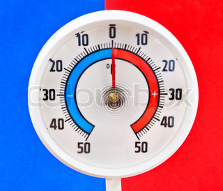 Outdoor thermometer Photos of the blue and red background