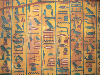 Egyptian Hieroglyphics Drawing on wall of the ancient temple