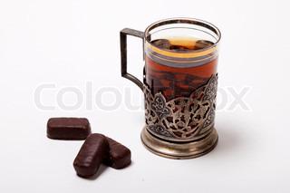 tasse tee mit alten russischen glashalter stock foto colourbox. Black Bedroom Furniture Sets. Home Design Ideas
