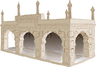 The style of architecture Islamist Afghanistan Vector illustration
