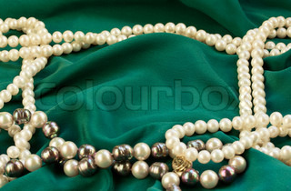 green silk with pearls frame abstract background