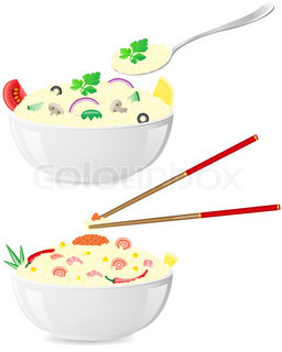 italian and asian rice with vegetables vector illustration