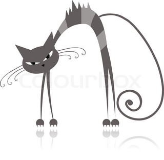 Angry grey striped cat for your design