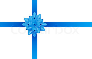 Blue ribbon with blue bow
