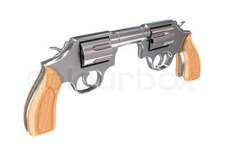 Two revolvers aiming to each other