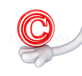 Red copyright symbol in a cartoon hand