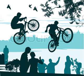 two cyclists perform a leap over the crowd of spectators