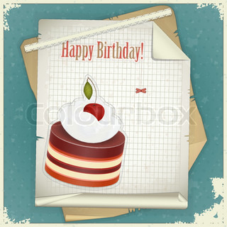 Vintage birthday card with Chocolate Cherry Cake and Old Paper