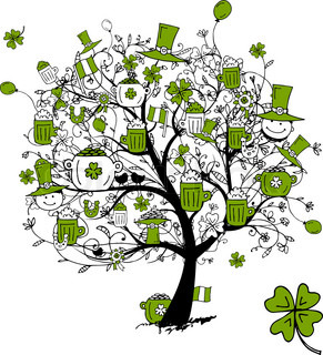 St Patrick's Day, drawing tree with beer mugs for your design