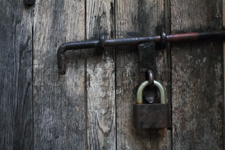 Vintage Wooden Door With A Padlock Stock Photo Colourbox