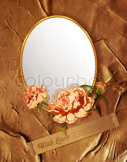 vintage background with flowers and a mirror