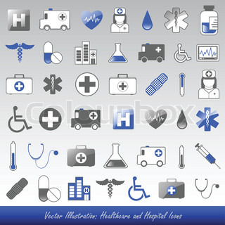 Blue healthcare and hospital icons