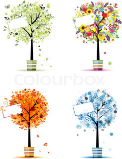 Four seasons - spring, summer, autumn, winter Art trees in pots for your design