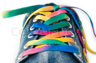 Bright colorful shoelace and sneakers