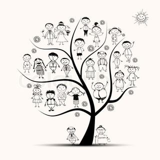 Family tree, relatives, people sketch
