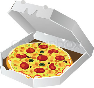 vector italian pizza in paper box