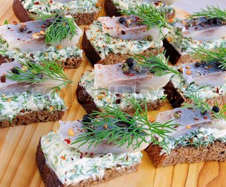 Snack rye bread and herring
