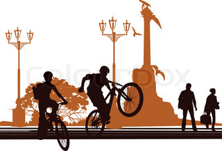 Vector of 'cycle, rider, riding'