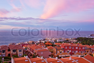 Puerto de la Cruz at sunset, Tenerife, Spain