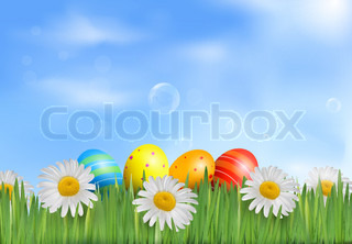 Easter eggs in the grass with daisies  Vector illustration
