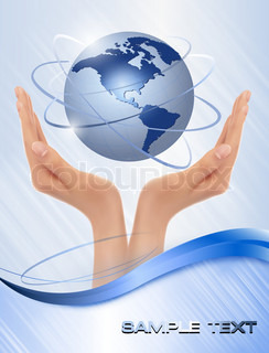 Background with hands holding globe  Vector