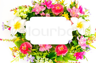 decorative colorful flower arrangement on white background