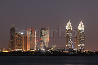 Dubai Media City at night United Arab Emirates