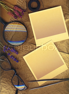memories of a scientist Vintage polaroid pictures with a clipping path for your picturies