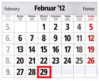 leap year calendar with red mark on 29 February