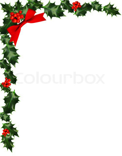 holly with berries border, copy-space